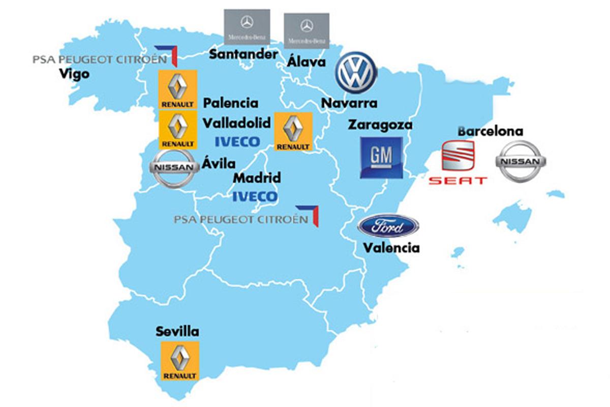 El mapa de las f bricas de veh culos en espa a - Fabricas de cristal en espana ...
