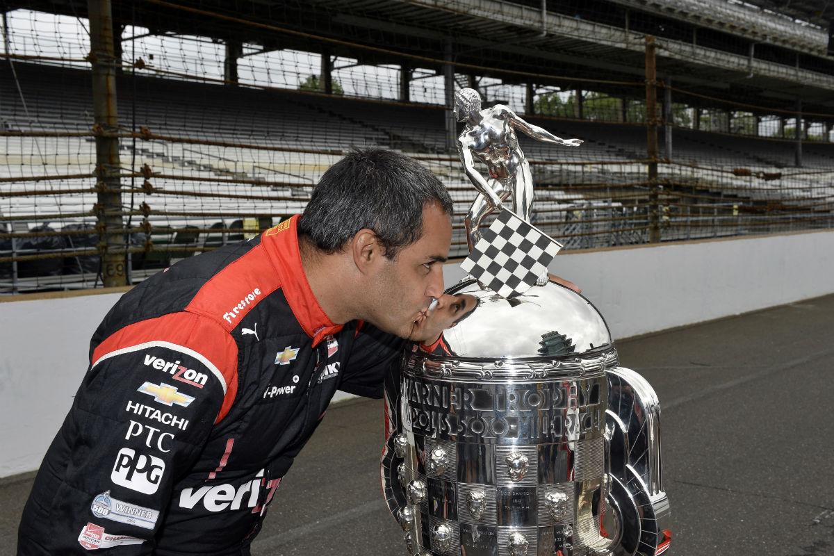 Montoya, tras vencer en las 500 Millas de Indianápolis en 2015 - SoyMotor.com