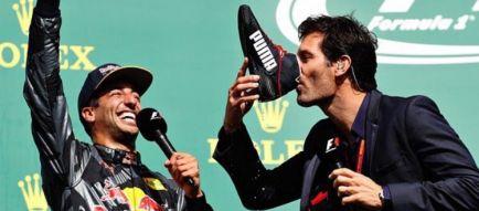 """Webber bromea con el 'shoey' de Ricciardo: """"No sabía nada bien"""""""