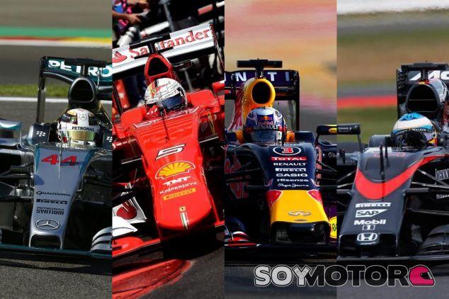 Mercedes, Ferrari, Renault y Honda representados en sus respectivos coches - LaF1