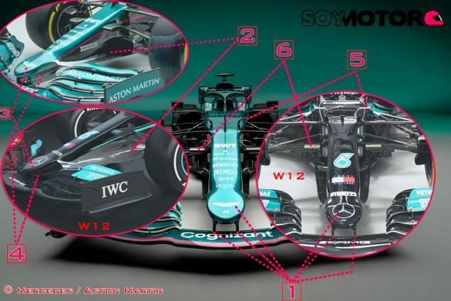 TÉCNICA: El Aston Martin AMR21 vs. los Mercedes W11 y W12 - SoyMotor.com
