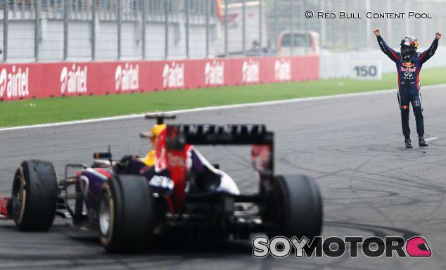 Momento de la celebración del cuarto título mundial de F1 de Sebastian Vettel