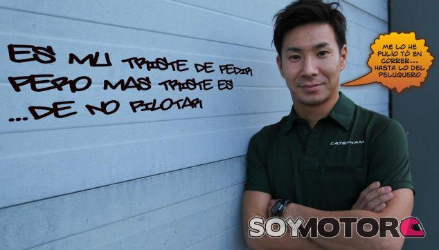 """El Camarero Volador desenfunda su katana... con un cartel donde se lee """"Would drive for food"""""""