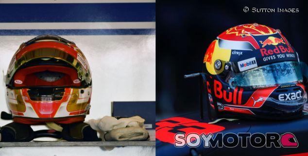 Cascos de Charles Leclerc (izq.) y Max Verstappen (der.) – SoyMotor.com