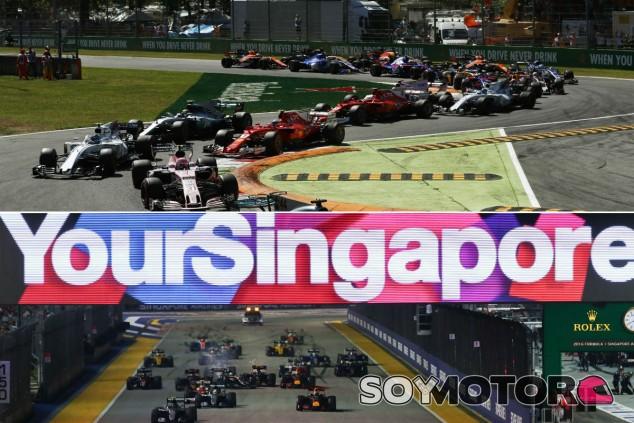 Monza 2017 (parte superior) y Singapur 2016 - SoyMotor.com