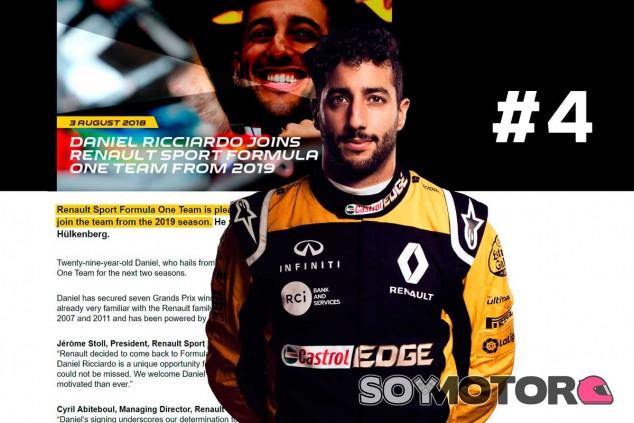 Los 5 mejores momentos F1 2018: Ricciardo revoluciona el mercado
