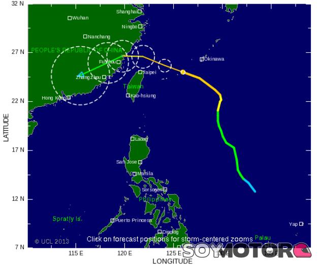 El tifón Fitow se aleja del circuito de Yeongam