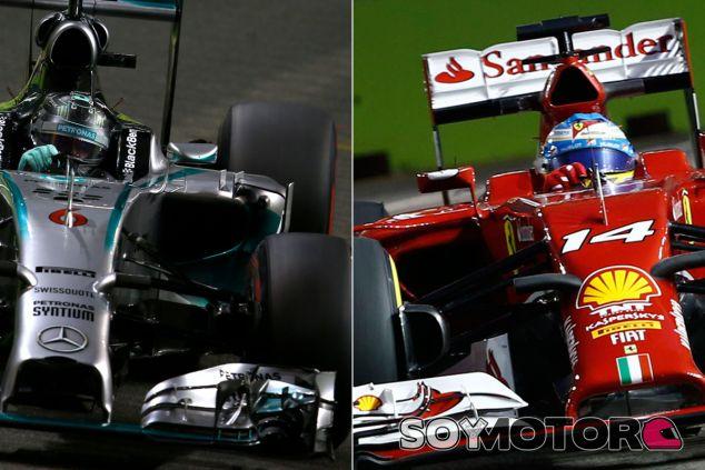 Alerones de Mercedes y Ferrari en Singapur - LaF1