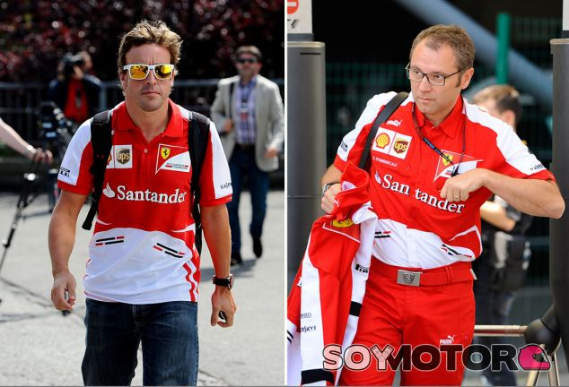 Fernando Alonso y Stefano Domenicali en Spa