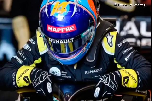 Alonso ya prueba el Renault RS20 en un filming day en Barcelona - SoyMotor.com
