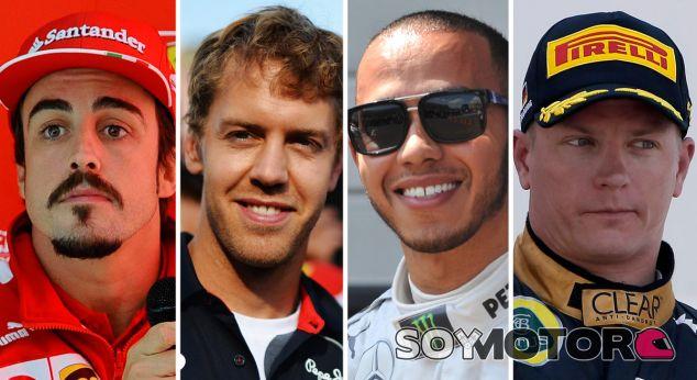 Fernando Alonso, Sebastian Vettel, Lewis Hamilton y Kimi Raikkonen