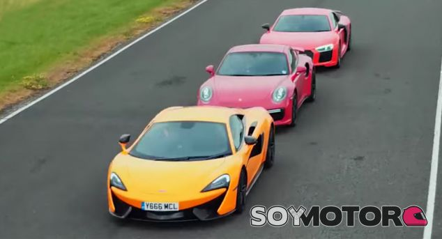Audi R8 V10 Plus vs. Porsche 911 Turbo S vs. McLaren 570S: el duelo
