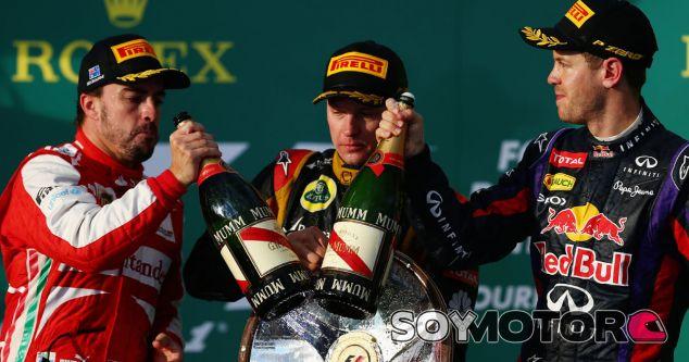 Alonso, Räikkönen y Vettel en el podio del GP de Australia 2013 - LaF1