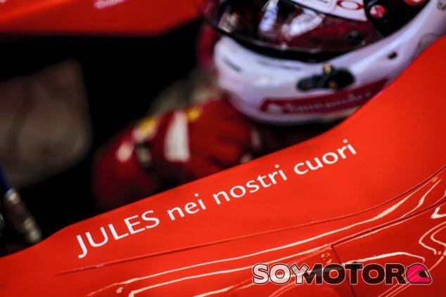 """Bianchi grabado en el chasis del Ferrari: """"Jules en nuestro corazones"""" - LaF1"""