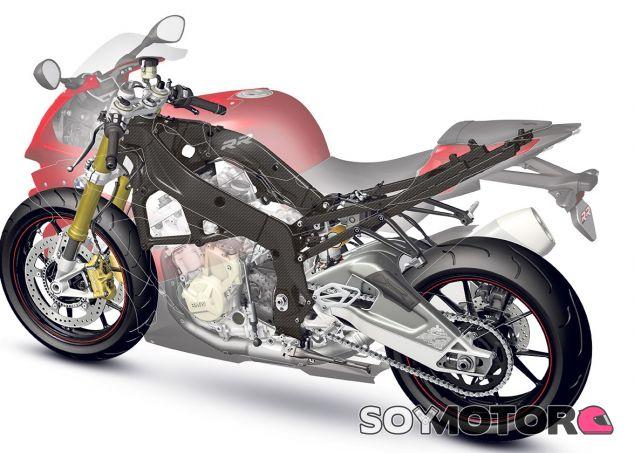 Diseño del chasis de doble viga de carbono para motos BMW de altas prestaciones