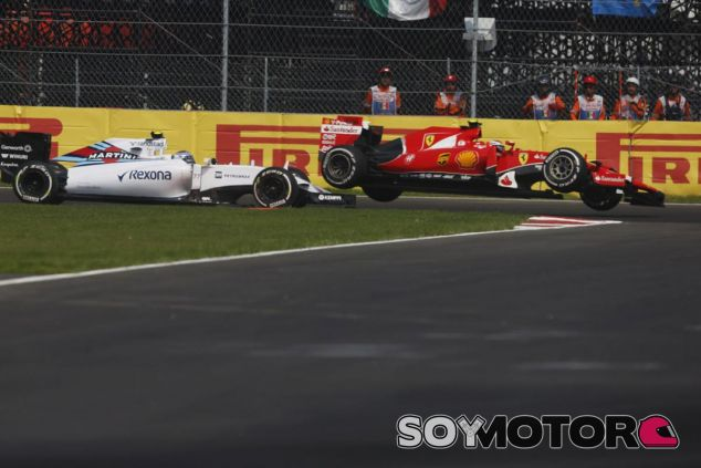 Momento en el que Räikkönen y Bottas repitieron su percance de Rusia en México - LaF1
