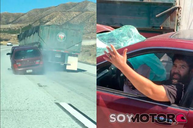 América... Un camión arrastra un coche durante 6 kilómetros - SoyMotor
