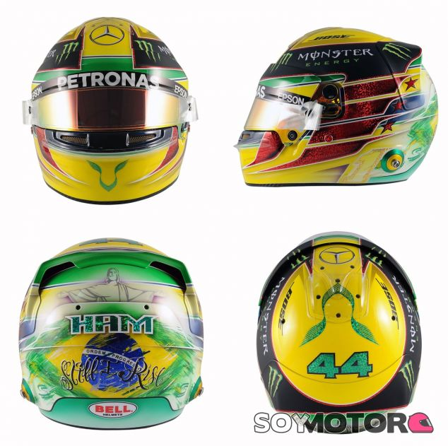 Casco que Lewis Hamilton utilizará en el GP de Brasil - LaF1