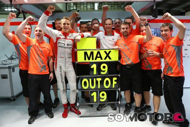Max Chilton celebra el récord arropado por Marussia - LaF1