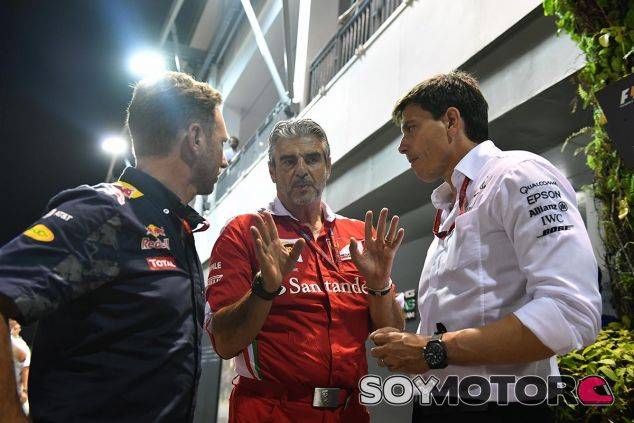 Christian Horner, Maurizio Arrivabene y Toto Wolff - SoyMotor
