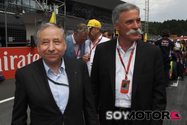 Jean Todt y Chase Carey durante el GP de Austria de este año - SoyMotor