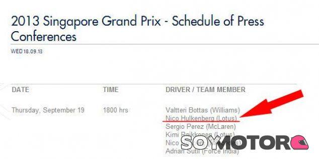 La FIA sitúa a Hülkenberg en Lotus por error