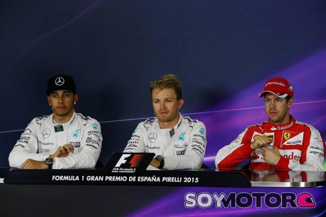 Hamilton, Rosberg y Vettel en la rueda de prensa oficial de la FIA en Barcelona - LaF1.es