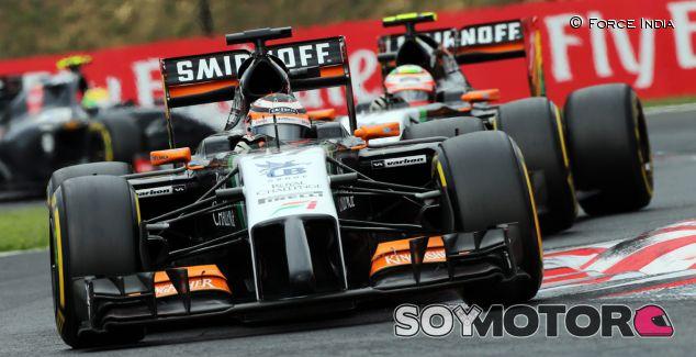 Los Force India durante el GP de Hungría