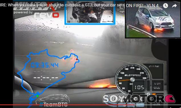 Ford Fiesta ST se incendia en Nürburgring en plena carrera
