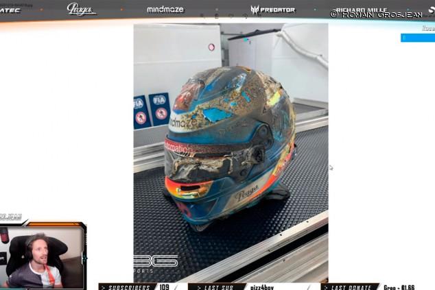 Grosjean muestra cómo quedó su casco tras su accidente en Baréin - SoyMotor.com