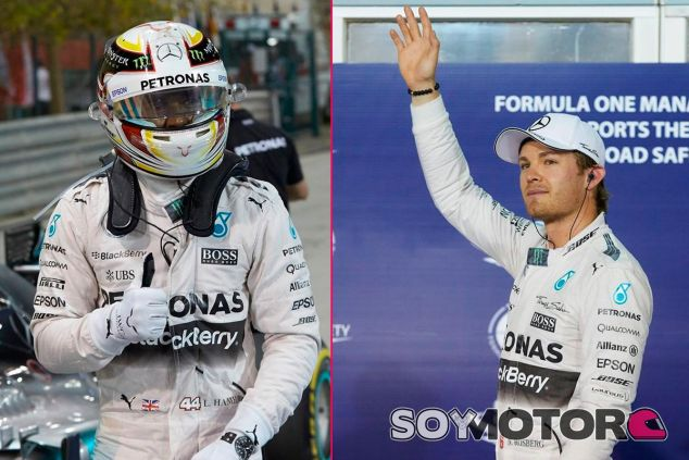 Lewis Hamilton y Nico Rosberg tras la sesión de clasificación de Baréin - LaF1