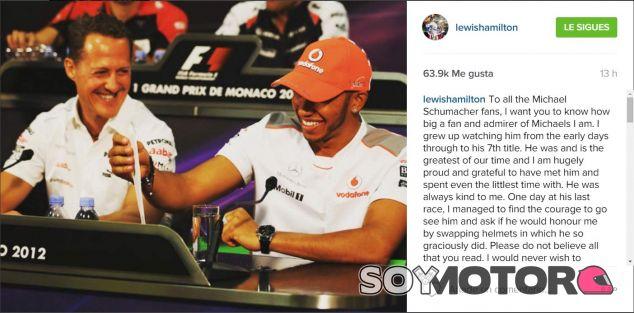 El mensaje de Lewis Hamilton en Instagram - LaF1