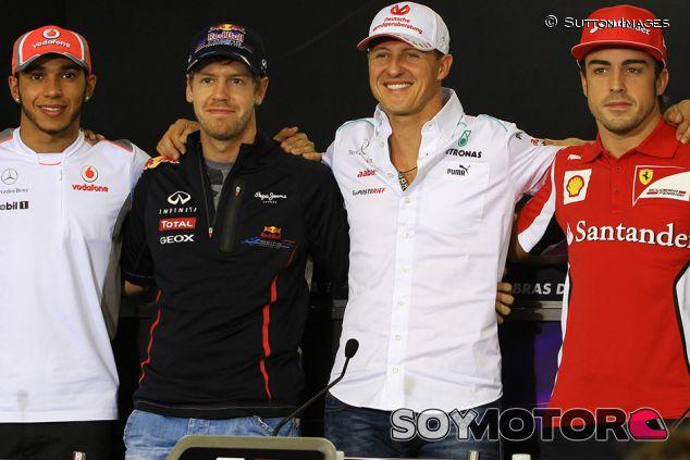 Hamilton, Vettel, Schumacher y Alonso en Interlagos - SoyMotor.com