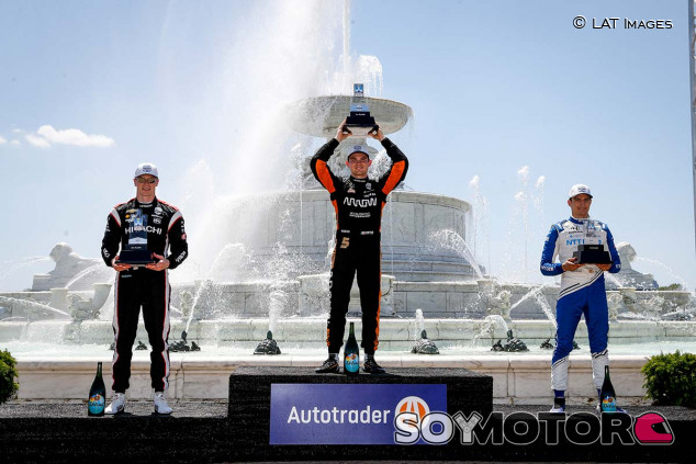 Podio de la segunda carrera de la IndyCar en Detroit - SoyMotor.com