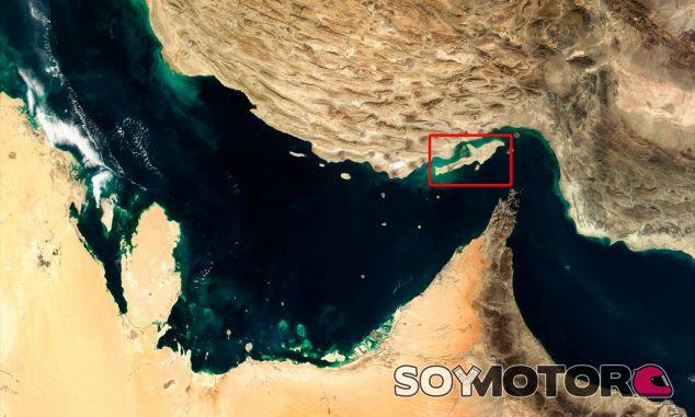 Localización geográfica de la isla de Qeshm, sede futura del circuito - LaF1