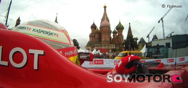 Kamui Kobayashi durante el Moscow City Racing