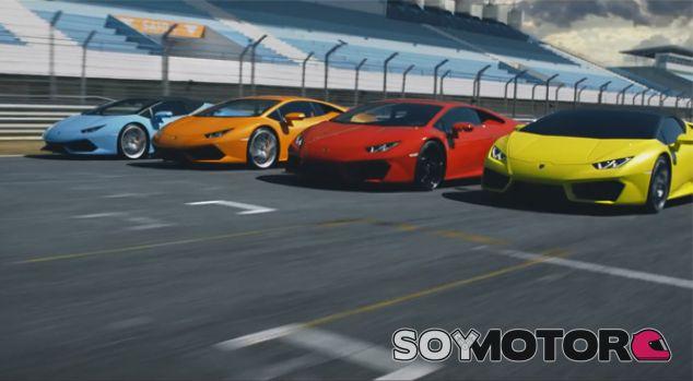 Los cuatro Lamborghini Huracán en el circuito - SoyMotor.com