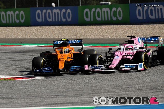 Lando Norris adelanta a Sergio Pérez en el GP de Austria F1 2020 - SoyMotor.com
