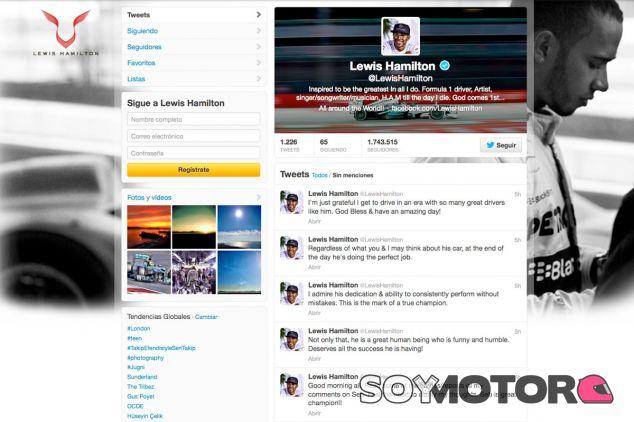 Captura de pantalla del perfil en Twitter de Lewis Hamilton - LaF1