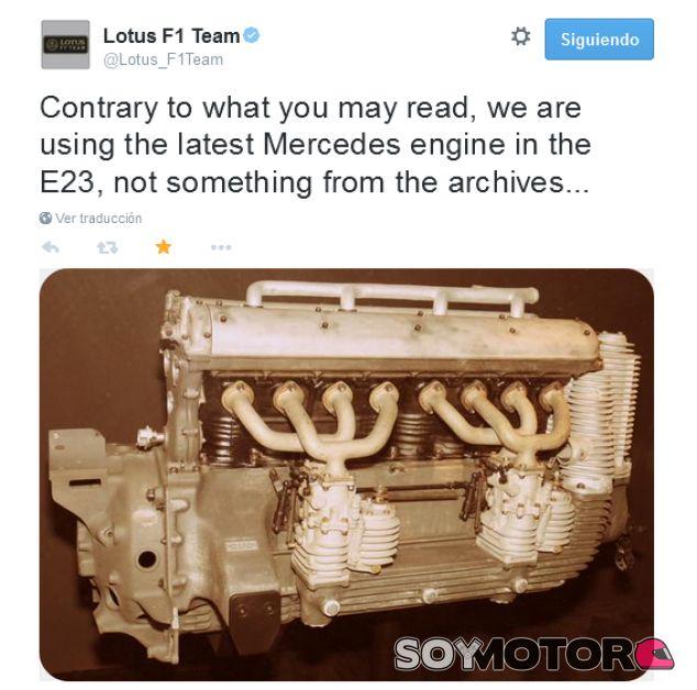 El tweet de Lotus donde lo afirman - LaF1.es