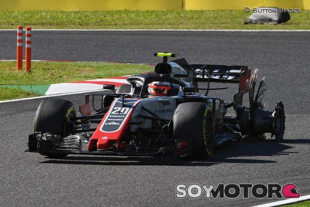 Magnussen, sin un neumático tras su incidente con Leclerc - SoyMotor