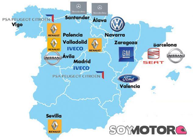 Mapa detallado de las plantas de producción de vehículos - SoyMotor