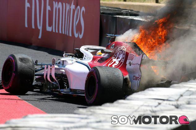 El C37 de Marcus Ericsson, en llamas en Paul Ricard - SoyMotor.com