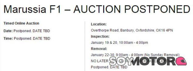 La casa que organiza la subasta anuncia en su web el cambio de fechas - LaF1