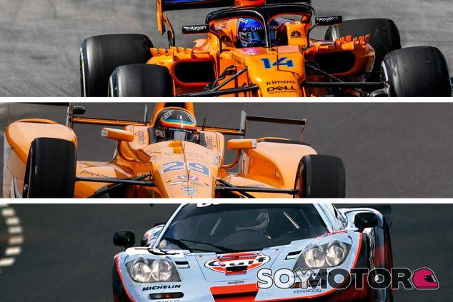Los coches de McLaren en F1 –arriba, 2018–, IndyCar –centro, 2017– y WEC –abajo, 1997–. Montaje de Ana Zoe Marí. – SoyMotor.com