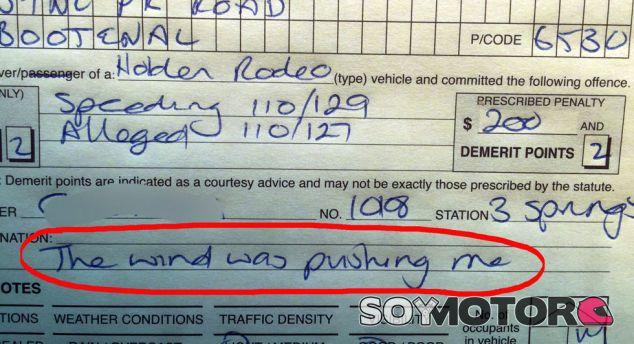 ¿Multa por exceso de velocidad?: 'Señor policía, me empujó el viento' - SoyMotor.com