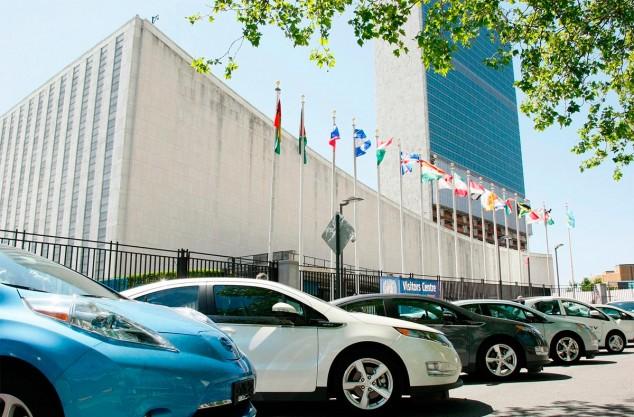 Coches eléctricos ante la sede de la ONU, Nueva York - SoyMotor.com