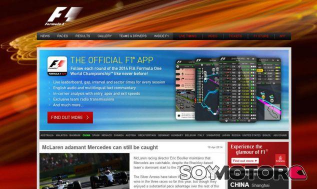 Ecclestone renovará la página web de la F1 y su 'app' - LaF1