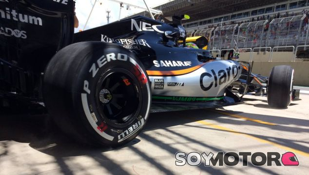 El Force India de Pérez, durante el GP de Brasil - LaF1