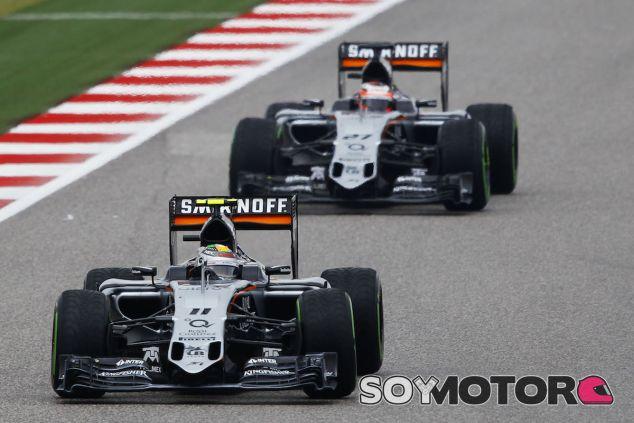 Sergio Pérez y Nico Hülkenberg en el GP de EEUU 2015 - LaF1